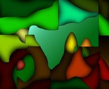 """Incubatio"" computer painting 5"" x 6"" 2000"